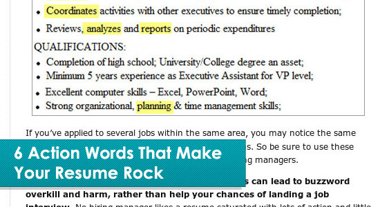 action word resume