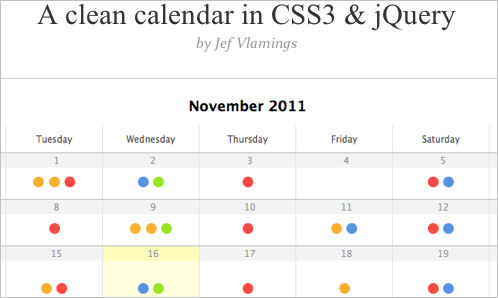 A clean calendar in CSS3 & jQuery : Finishing Touch