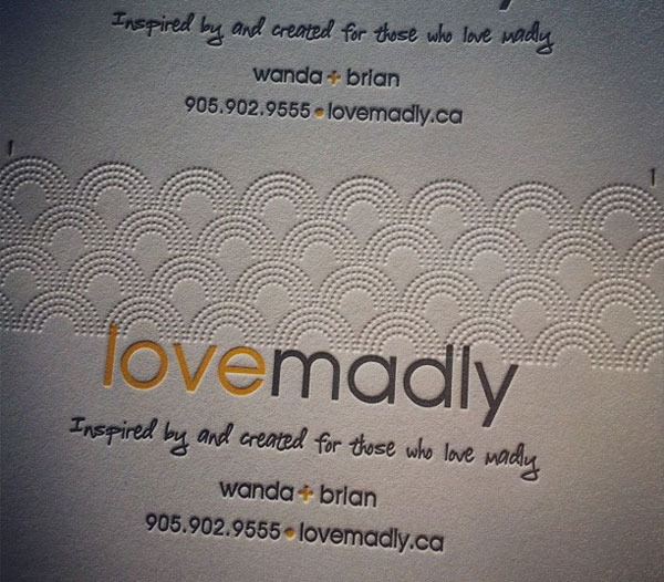 Lovemadlydotca letterpress business cards