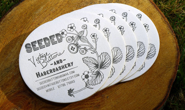 Round Letterpress Business Card