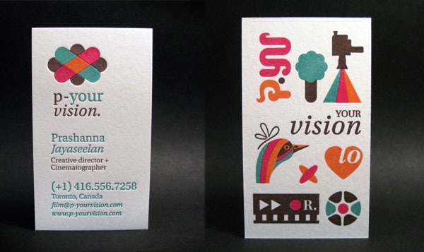 Four colors letterpress business card