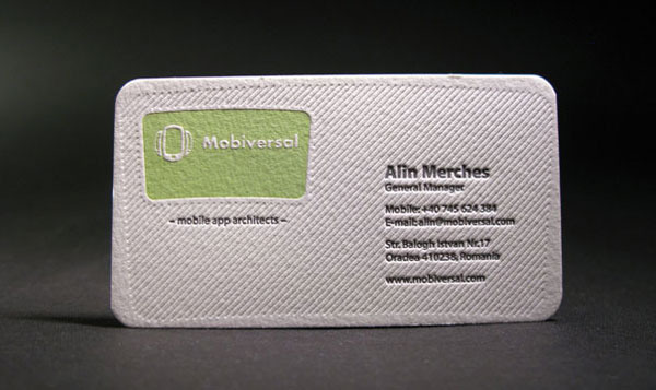 Letterpress Business Card with Rounded Corners