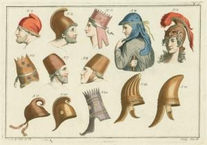 [Helmets and headdresses of we... Digital ID: 1623655. New York Public Library