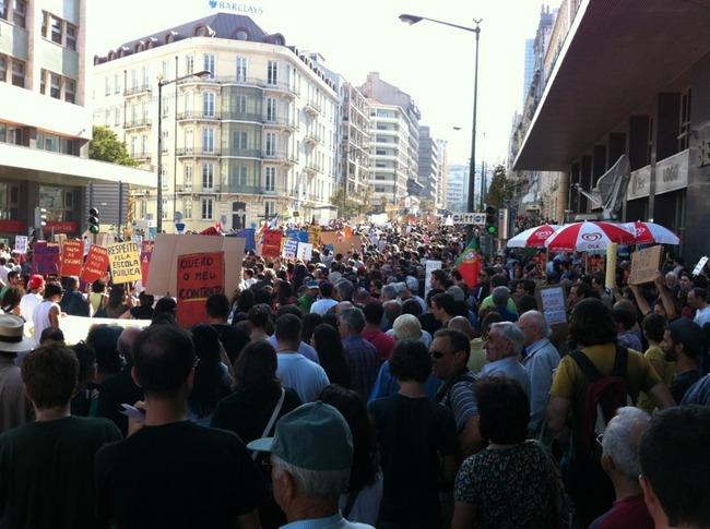 Concentração no Marquês de Pombal, Lisboa. Foto de José M. no Foursquare