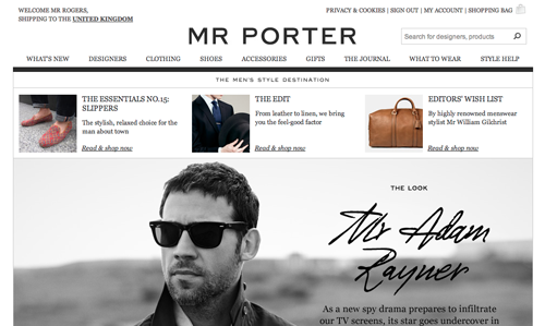 Mr Porter Ecommerce Website