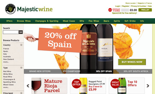 Majestic Wines Ecommerce Website