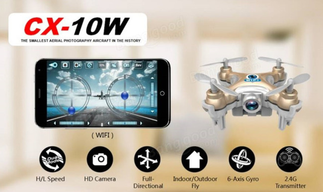 Cheerson CX-10W CX10W Mini Wifi FPV With 720P Camera 2.4G 4CH 6 Axis LED RC Quadcopter