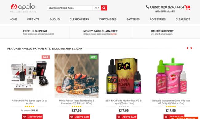 Apollo Ecigs UK E Liquids Vape kits