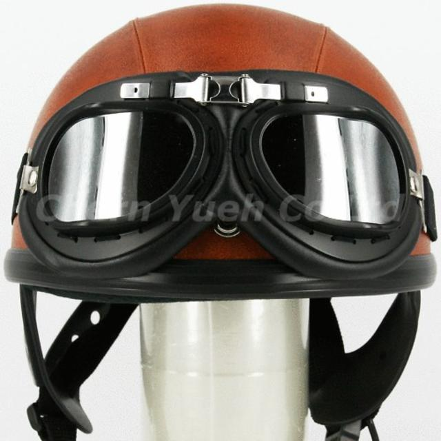Silver Chrome Leather-Frame Vintage Goggles