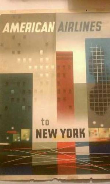american airlines new york travel poster bureau of trade. Black Bedroom Furniture Sets. Home Design Ideas
