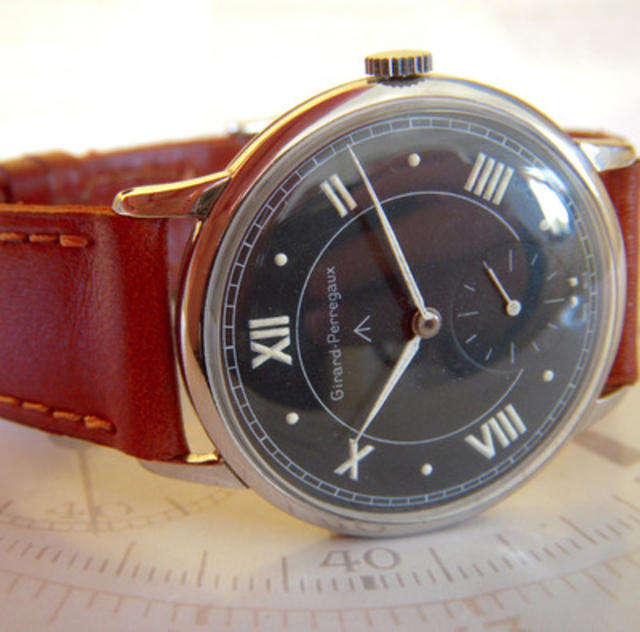 Black-Face Watch with Brown Band