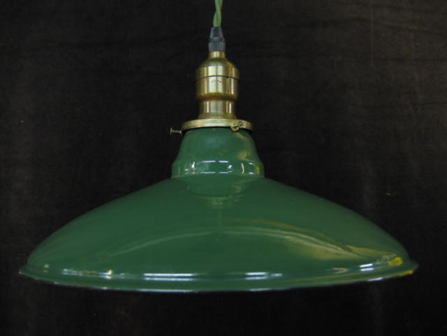 green enamel tin shade pendant lamp bureau of trade