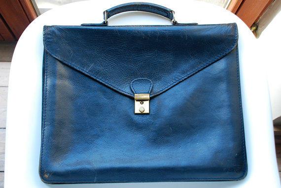 Vintage Navy Briefcase