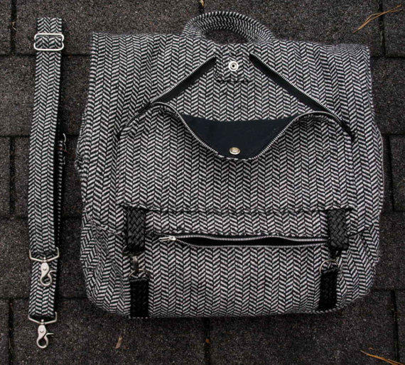 Herringbone Tweed Three-Way Bag