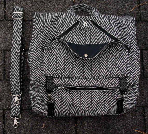Herringbone Tweed Three-Way Bag