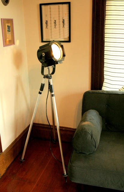 Vintage Theater Tripod Spotlight
