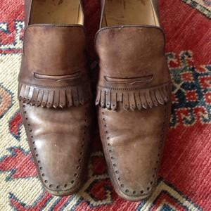 Brown Leather Fringe Loafers