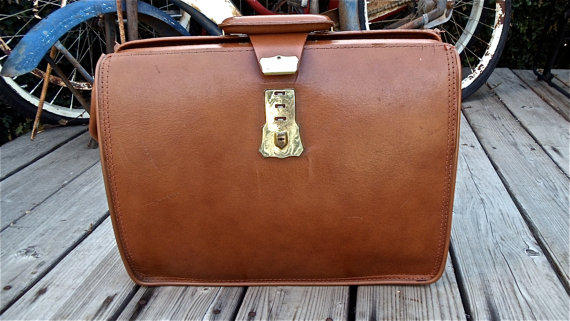 Cowhide Brown Leather Briefcase