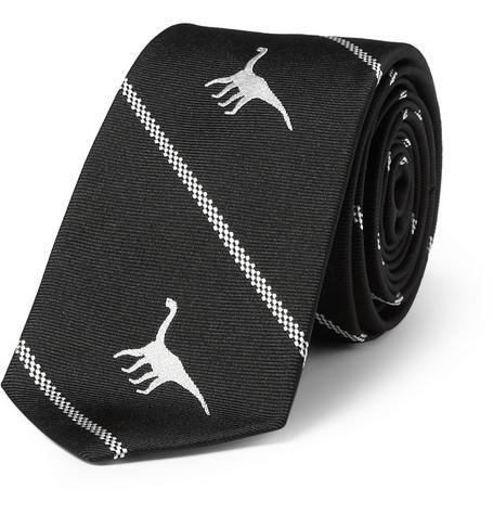Dinosaur-Motif Silk Tie