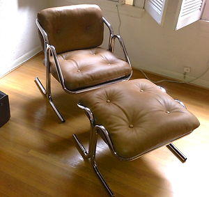 Mid-Century Leather and Chrome Sling Chair with Ottoman