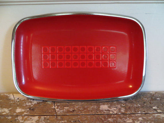Red Enamel Serving Platter