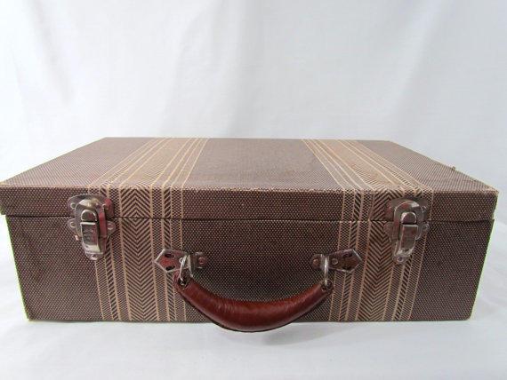 Vintage Brown Tweed Suitcase