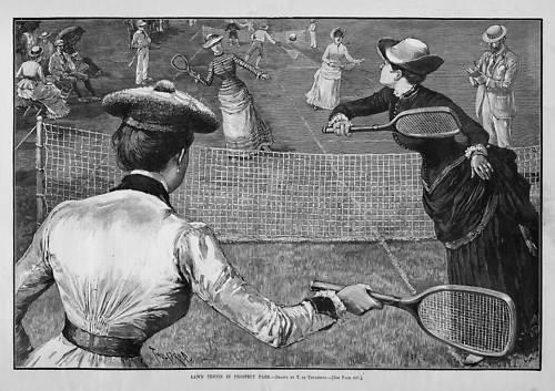 """Lawn Tennis in Prospect Park"" <i>Harper's Weekly</i> Illustration, 1885"