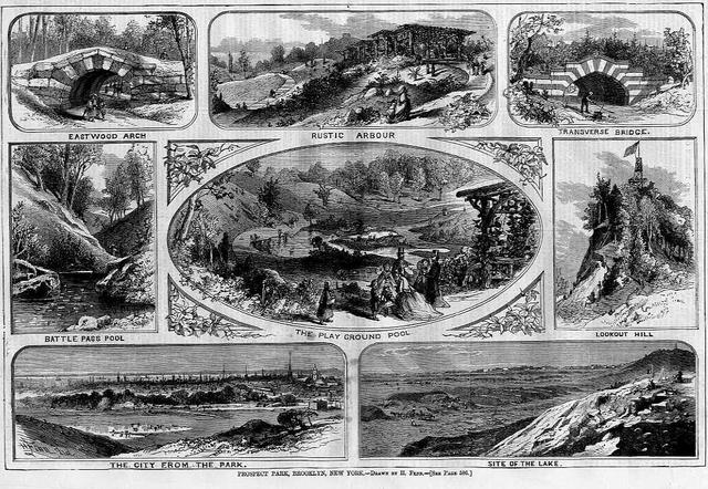 Prospect Park, Brooklyn, Wood Block Print from <i>Harper's Weekly</i>, 1868