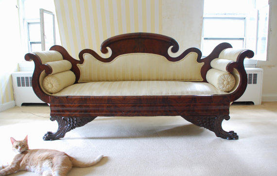 Victorian Empire Double-Scroll End Sofa