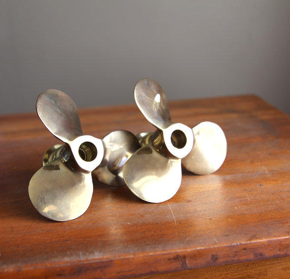 Brass Propeller Candlesticks