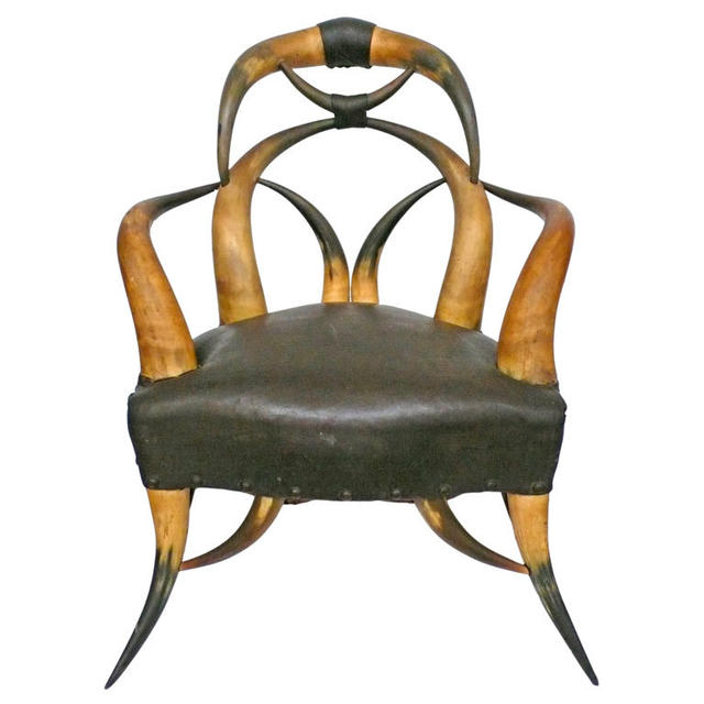 Horn and Leather Chair