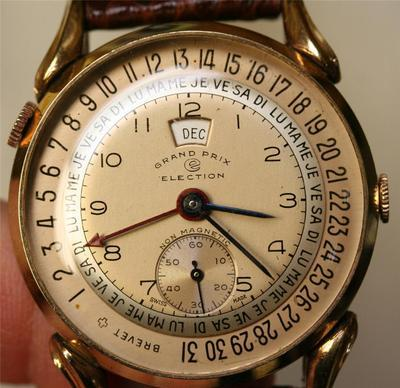 Vintage Election Wristwatch with Leather Band