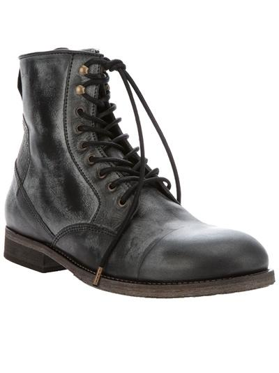 Gray Leather Boots