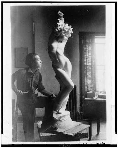 Isamu Noguchi with Sculpture Portrait