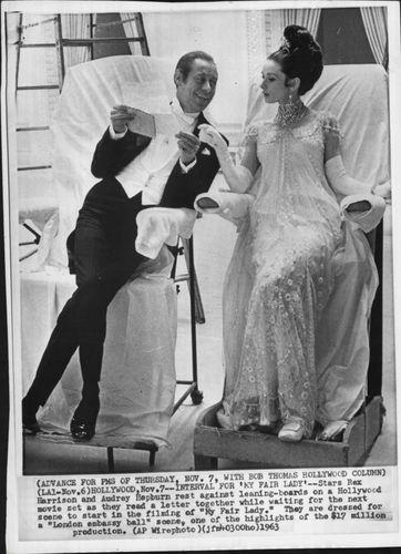 Photo of Rex Harrison and Audrey Hepburn Reading a Letter, 1963