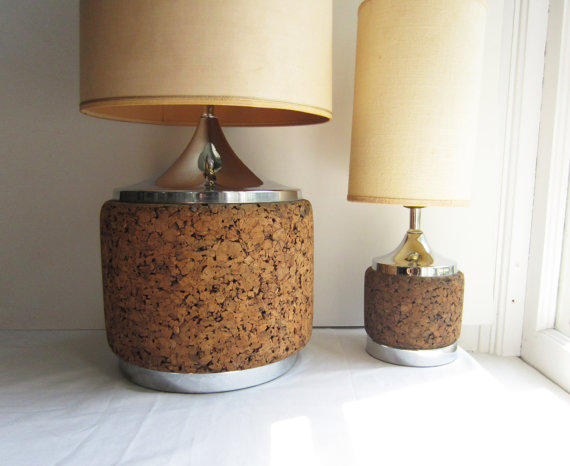 Pair of Vintage Cork and Chrome Table Lamps, Large and Small