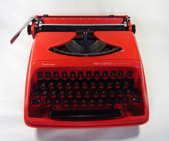 Red Portable Typewriter