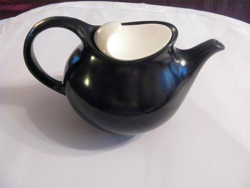 Satin Black Teapot with White Lid