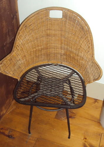 Vintage Rattan and Iron Swivel Chair
