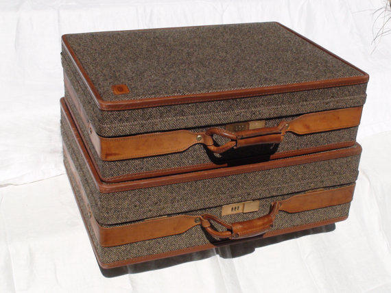 Vintage Walnut and Tweed Suitcase