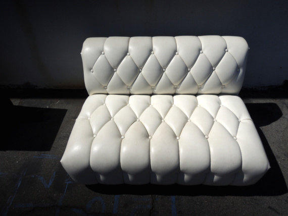 Vintage Tufted Armless Sofa