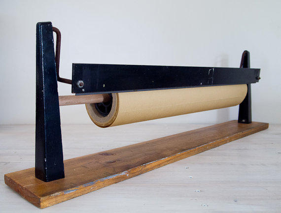 Vintage Metal Roll Butcher Paper Cutter