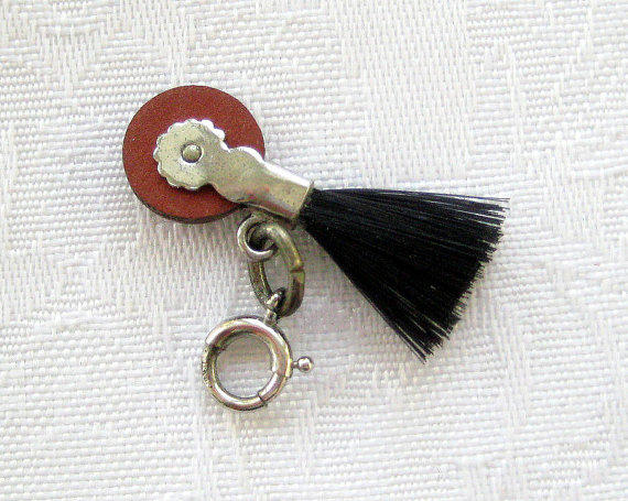 Vintage Sterling Eraser and Brush Key Chain