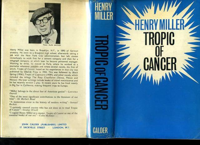 <i>Tropic of Cancer</i>, by Henry Miller (1st U.K. edition)