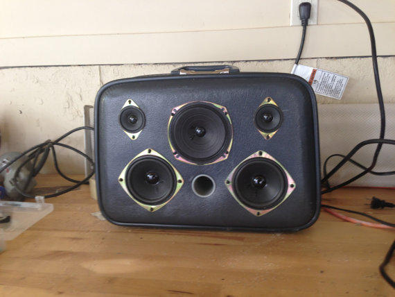 Vintage Suitcase with Speakers