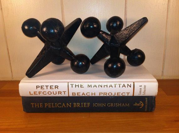 Set of Two Large Cast-Iron Jacks Bookends