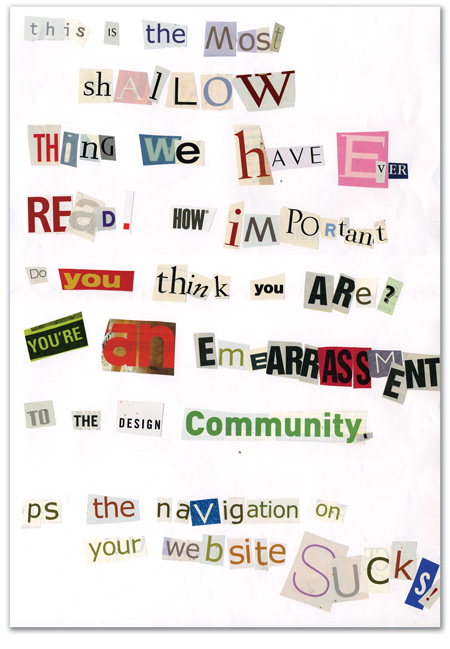 The hate mail with corny typography