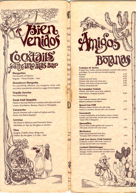 Uno mas bar, menu research