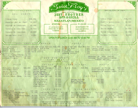 Senor Frogs menu research