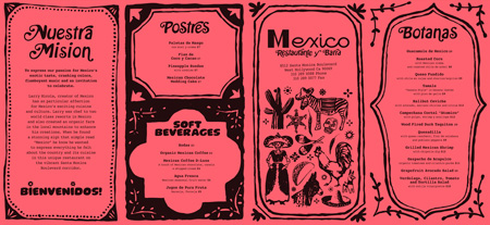 Mexico take-out menu